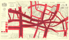 CITY OF LONDON. Town planning survey. TRAFFIC FLOW IN 1904 & 1935 1944 old map