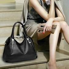 Women Handbag Black Leather Shoulder Bag Tote Purse Ladies Fashion Leisure Bag