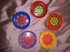 5 dessous de bouteille Vintage - Grosses Fleurs Multicolores