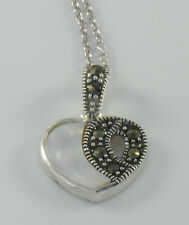 Marcasite Sterling Silver Petite Mother of Pearl Small Heart Pendant w/ Chain