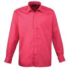 Premier Easycare Poplin Shirt Mens Long Sleeved Polycotton Formal Collar Pr200 Hot Pink 17