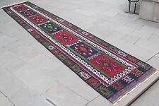 Turkish Kilim 37''x194'& #039; Oriental Rug Runner Kilim Corridor Kilim Hallway Rug