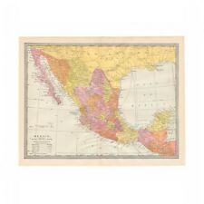 Antique color map of Mexico from disbound 1906 encyclopedia