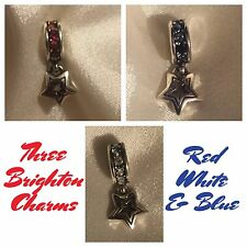 3 Brighton Shooting Stars Red White Blue Patriotic Swarovski Crystals Charms