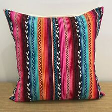 "18"" (45cm) PINK/RED/BLUE/GOLD Mexican Fabric Cushion Cover. Made Australia"