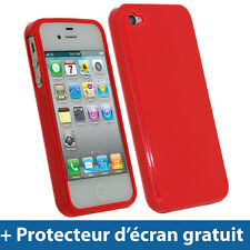 Rouge Étui Housse Gel Briliant TPU Coque Case Cover pour Apple iPhone 4S Bumper