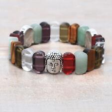 Chakra Multi Stone Crystal Strech Bracelet, Silver Tone Buddha Beads