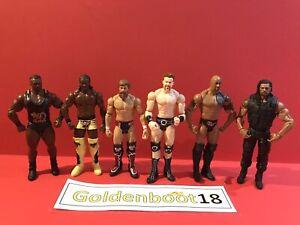 WWE MATTEL WRESTLING FIGURE BUNDLE X6 DANIEL BRYAN BIG E THE ROCK ROMAN REIGNS
