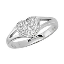 925 Sterling Silver Baby, Girls, Childrens, Kids Cubic Zirconia Heart Rings