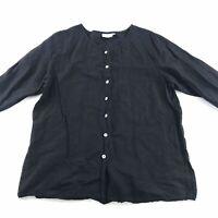 Hot Cotton Womens Button Front Top Black 1X Shirt Linen Blend Lagenlook