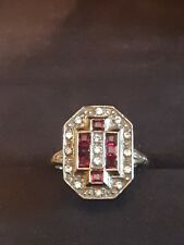 Bague ancienne style art déco en or 18 cts rubis et diamant  4,7 grs T55