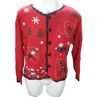 Basic Edition Women Small Holiday Sweater Red Long Sleeve Button Christmas 03042