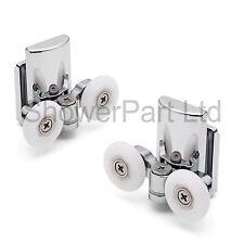 2 X Twin parte inferior de aleación de zinc Puerta de ducha rollers/runners/wheels 23mm Rueda L067