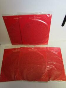 """Vintage Hallmark Christmas Red French Lace Paper Doilies 5 packs 8 Each 10"""""""