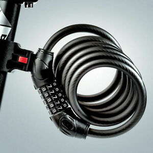 5 Resettable Digit Combination Bike Lock Bicycle Spiral Steel Cable Lock 1.2Mt