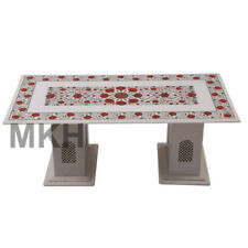 White Marble Vintage Coffee Table Stone Inlay End Table Top Mid Century Carved