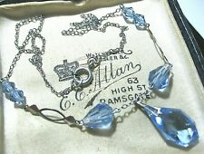 Vintage Jewellery Antique 1930's Art Deco Blue Glass Crystal Bead Drop NECKLACE