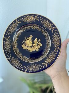 Limoges France Cobalt Blue and Gold Fragonard Courting Couple Plate 9 inches
