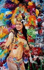 Brazilan Samba, Palette Knife Oil Painting, Textured, Dance, Carnival.