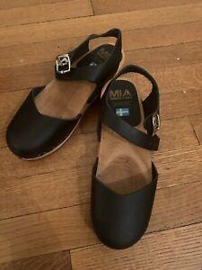 MIA Women's Sofia Black Clogs Size 9M Genuine Anatomisk Swedish Clogs SW562T