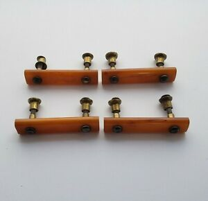 4 Art Deco Butterscotch Amber Bakelite Catalin Drawer Pulls Handles Hardware