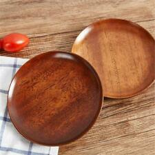 Natural Wood Plate Wooden Round Dish Serving Food or Dessert Kitchen Tool H