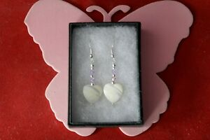 BEAUTIFUL EARRINGS WITH M.O.P & CRYSTAL 3.9 GR. 3.6 CM.LONG + HOOKS WHITHOUT BOX