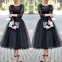 Black Womens Long Lace Dress Prom Evening Party Cocktail Bridesmaid Wedding Gown