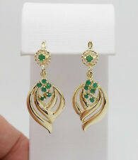 1/2CT Natural Emerald Chandelier Earrings 14K Yellow Gold