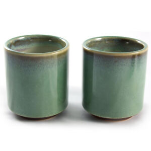 Tea Cups Coffee Mug Mugs - Japanese Stoneware Green & Brown Glazed Bowls - Pair