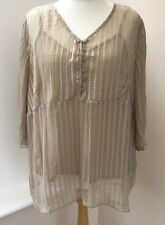 NEW C&A Yessica Beige Gold Stripe Chiffon Blouse Top Size 30 - 32 #JT6