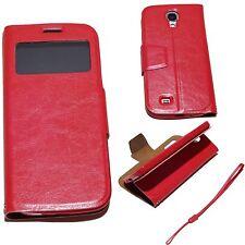 Samsung Galaxy S4 Cover rot Hülle S-View Stand Tasche Case Schutz Display Handy