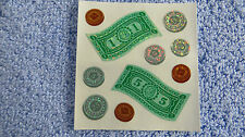 Sandylion *MONEY/COINS/BILLS* 1 Square Vtg Sticker RETIRED OUT OF PRINT