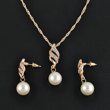 Charming Wedding Bridal Faux Pearl Jewellery Set Crystal Necklace and Earring