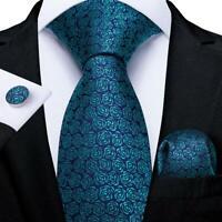 Teal Blue Silk Floral Tie Set Mens Necktie Pocket Square Cufflinks Wedding Party