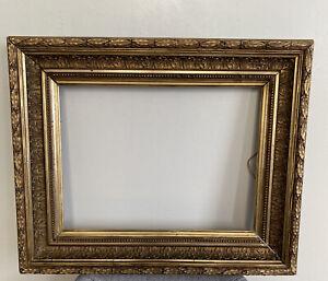Frame Cadre ancien bois sculpté Doré Or XIX Style Barbizon Format 42 cm x 32 cm