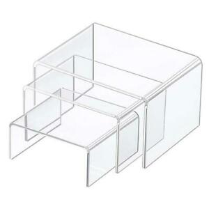 Square Acrylic Clear 3 Size Riser Display Stands Showcase Set to Set up Jewerly
