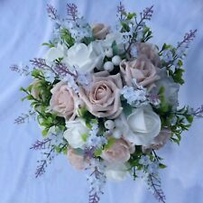 Wedding Posy Bouquet White Lavender & Mocha Pink & White Roses With  Berries