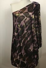 Famosa Womens Animal Print Gold One Shoulder Casual Blouse Top Tee Sz Large