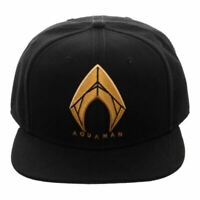 DC Aquaman Icon Embroidered Black Snapback Cap Baseball Hat - One Size Comics