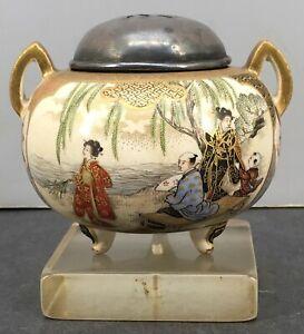 Japanese Meiji Satsuma Incense Burner - Koro, signed by Ryozan