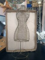"""Vintage Antique Wire Metal Doll Dress Form 15"""" Tall Display Use for Earrings?"""