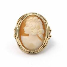 VICTORIAN 14K GOLD LARGE CARVED SHELL CAMEO RING Sz 7.5