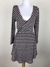 dd41cd6db4 Free People Sweater Dress Sz M Knit Maroon Black White Mini Striped Long  Sleeve