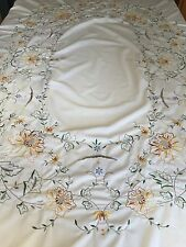 """Vintage 86"""" Round Embroidered Tablecloth - Very Clean"""