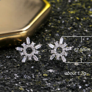 Fashion 925 Silver Hoop Earrings Cubic Zircon for Women Gifts Jewelry A Pair/set