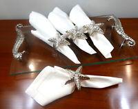 Beautiful Set of 6 Silver Plated Starfish Nautical Napkin Rings