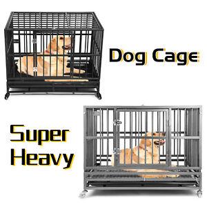 Heavy Duty Metal Pet Dog Cage Crate for The House Indoor Outdoor Double Doors