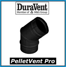 "Duravent Pelletvent Pro Pipe 3"" Diameter 45 Degree Black Elbow #3Pvp-E45B New!"