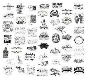 BLACK & WHITE STICKERS Word Advert Scrapbook Journal Diary Card Art Craft Deco